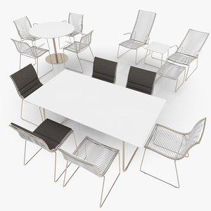 filigree patio furniture scene 3d model