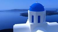 blue dome church in Santorini