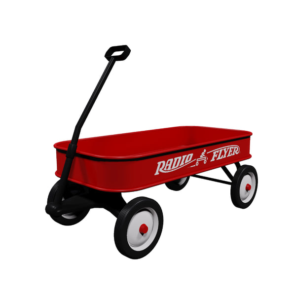 3d red radio flyer wagon