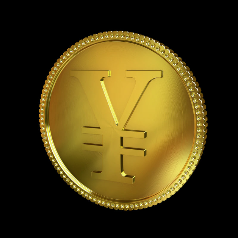 3d model yen golden coin