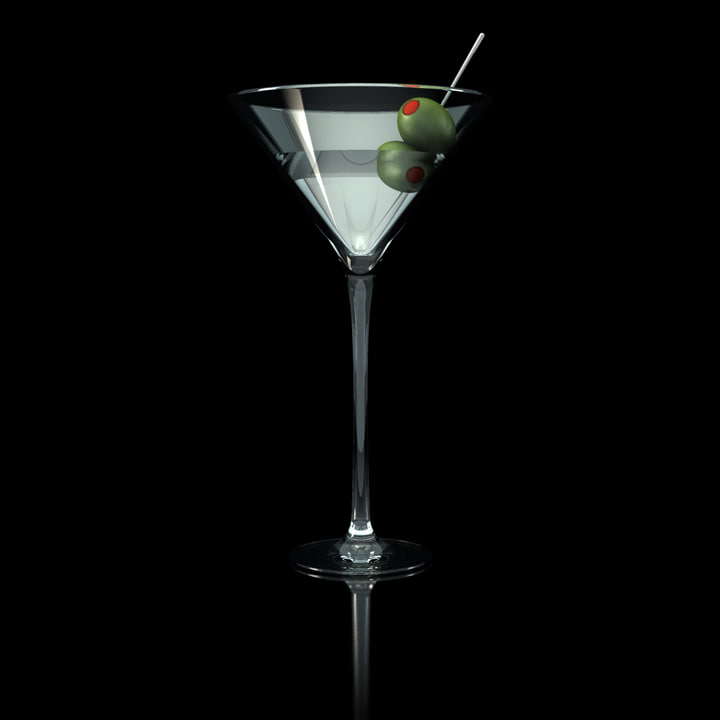 martini glass olives c4d