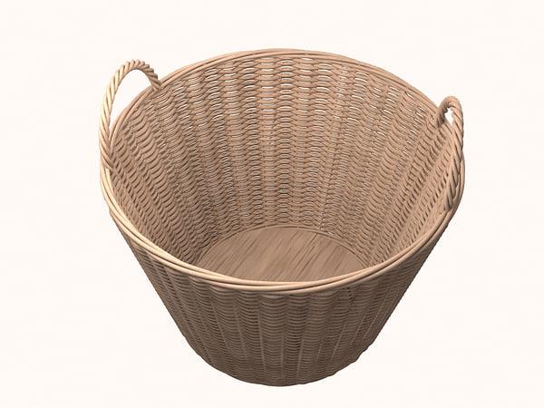 wicker basket 3d obj