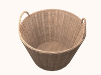 wicker basket 3d obj