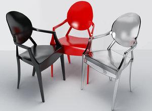 3d model louis ghost armchair