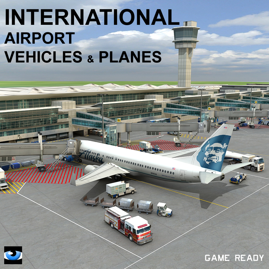 3d international airport vehicles planes model