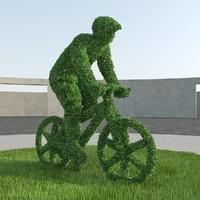 bicyclist topiary sculpture 3d model