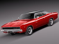 3d model dodge charger 1968 muscle car