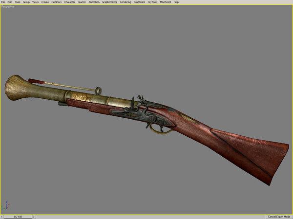 old fusil flintlock musket 3d max