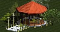 3d pavilion octagonal model