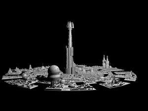 city sci fi 3d max