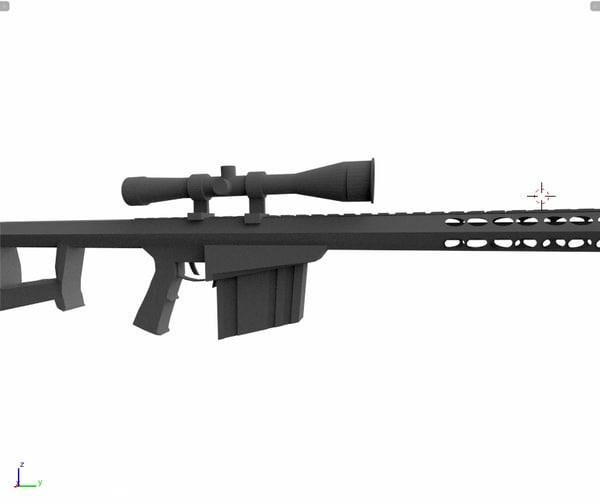 sniper rifle barretm82a1 3d 3ds