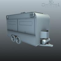 3d food truck trailer