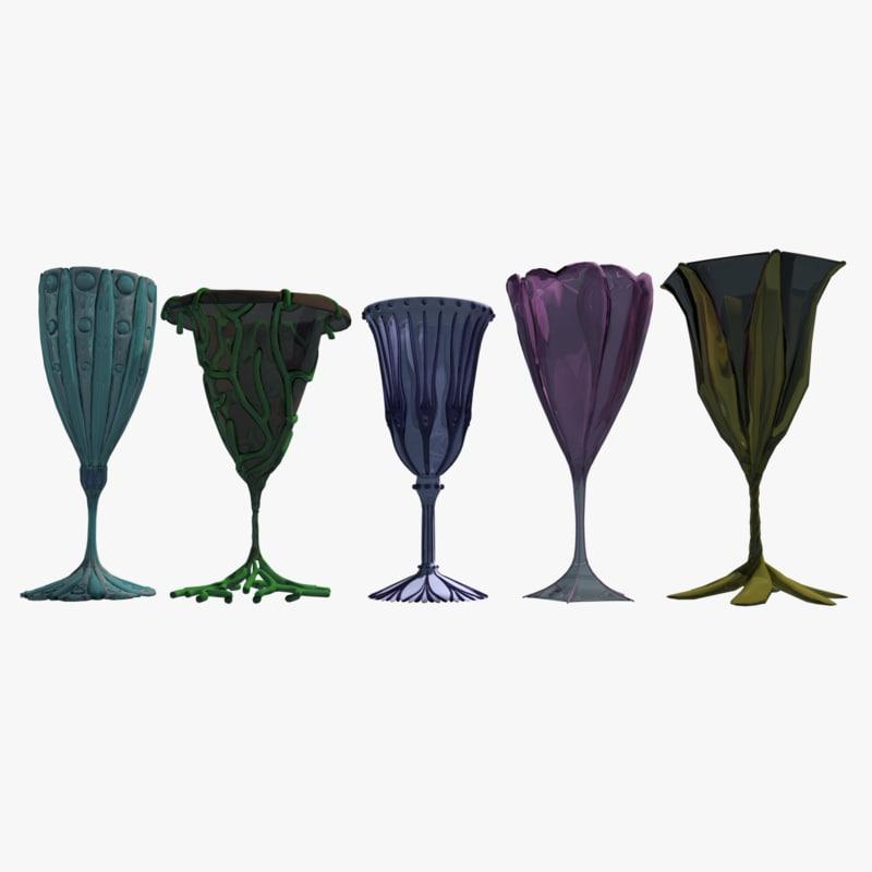 3d 5 ornamental wine glasses