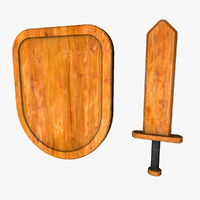 3d model small wooden sword shield