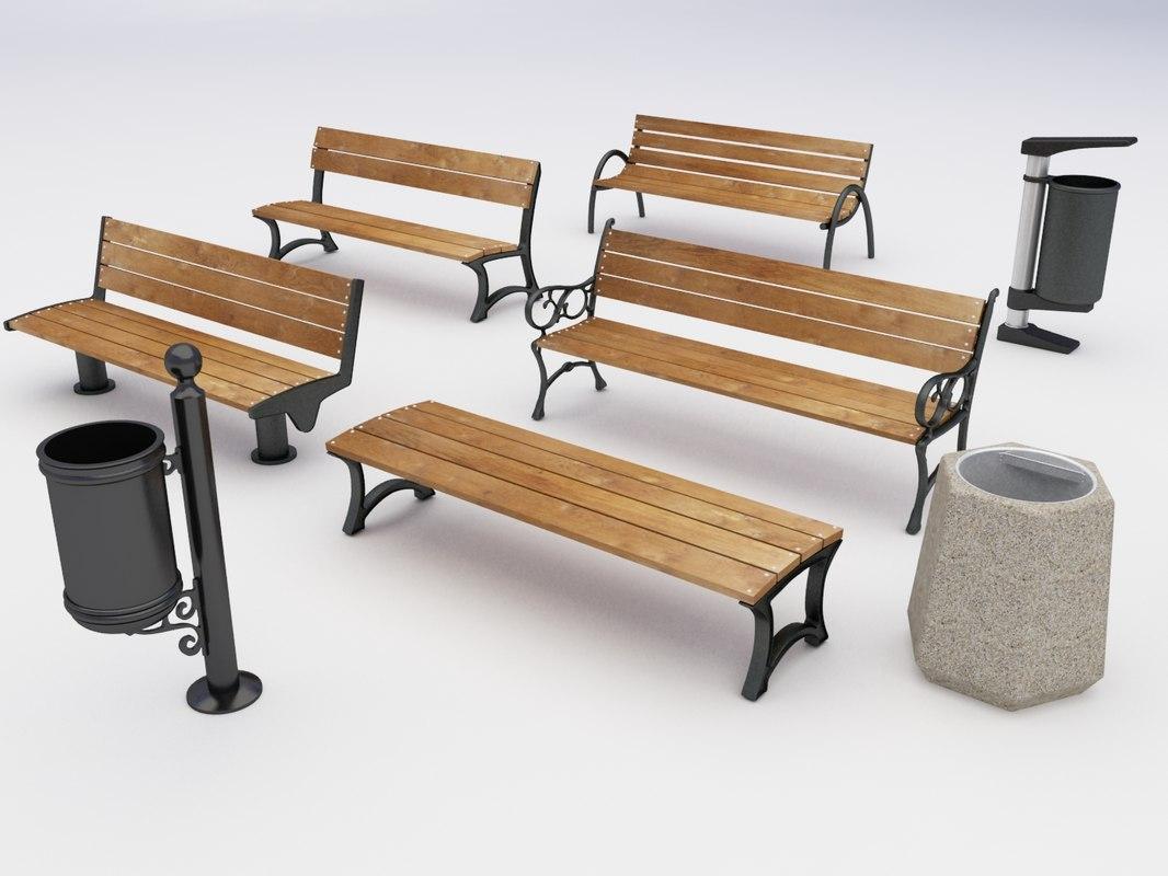 3d model park benches dustbins