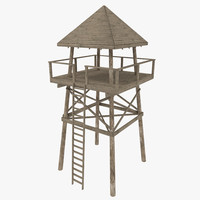 wooden look tower 3d 3ds