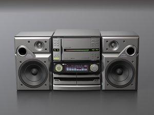 pioneer casette cd player 3d model