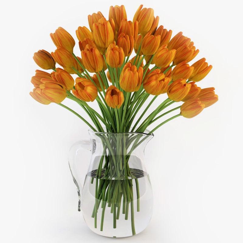 tulips jug 3d obj