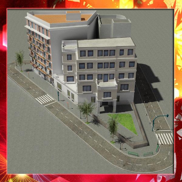 3d european city block 02 model