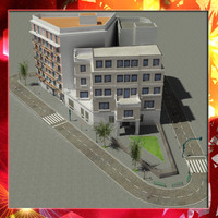 3d european city block 02 model