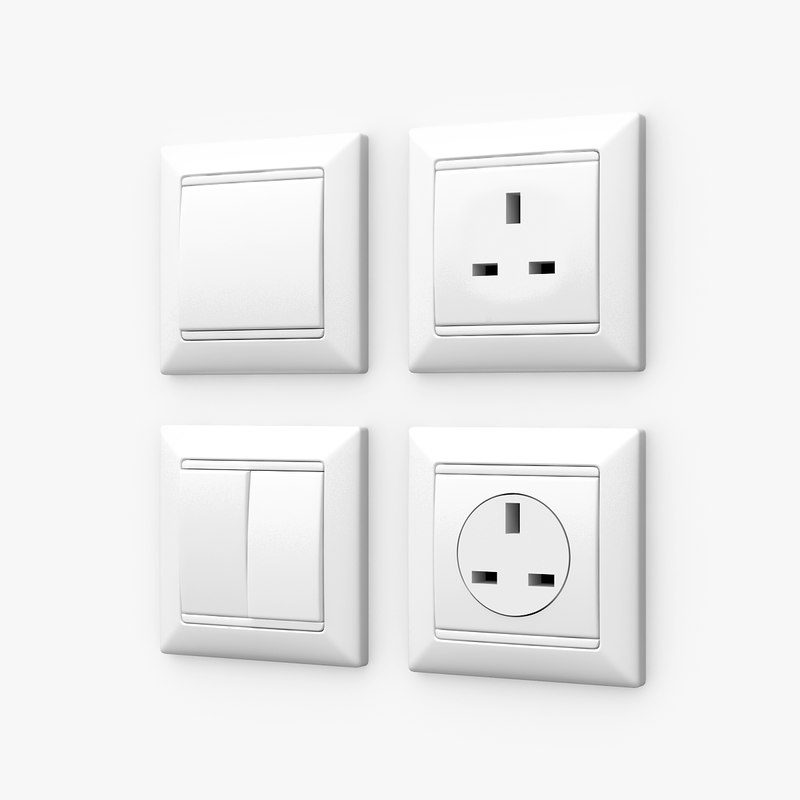 wall switches sockets 3d max
