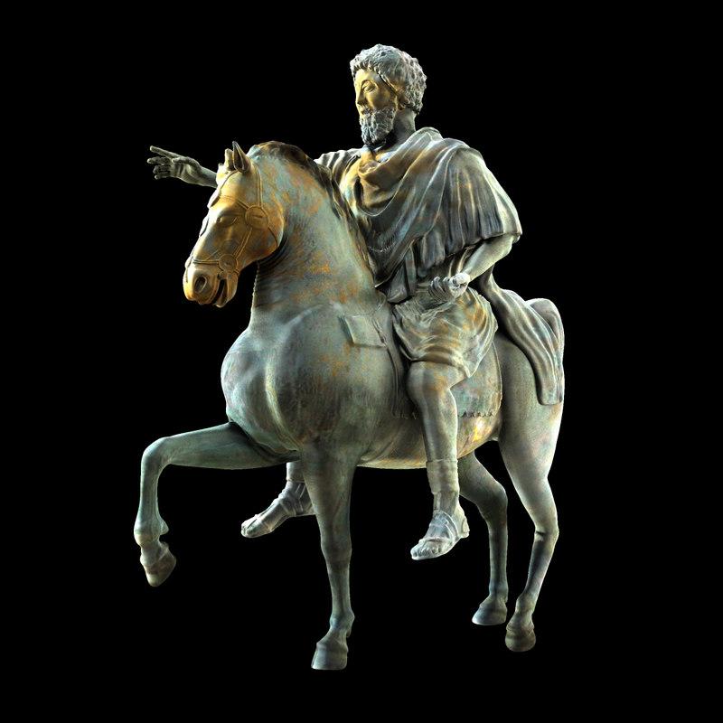 marcus aurelius equestrian statue obj