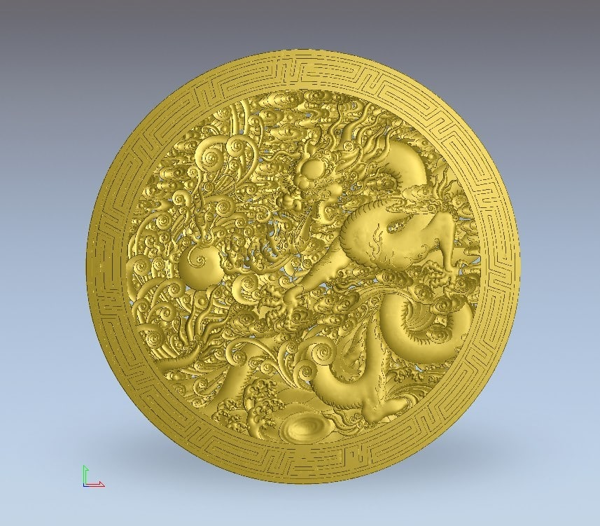 3d model chinese dragon plate