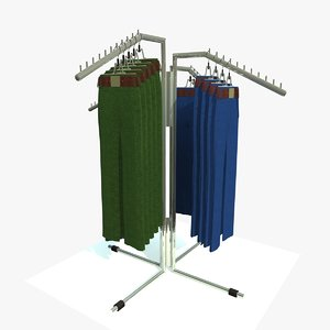 trousers stand rack 3d model