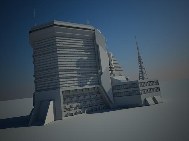 futuristic sci fi building 3d 3ds