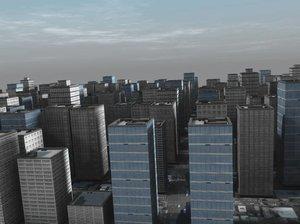 city scape skyline buildings 3d model