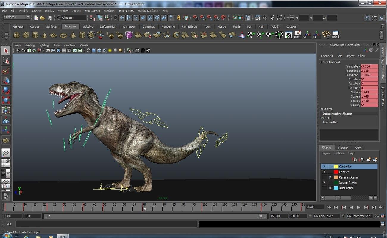 dinosaur rigged 3d model