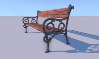 3d obj bench wooden