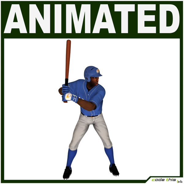 3d characters baseball player cg model