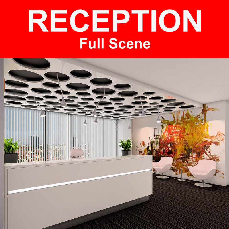 3d model reception lights