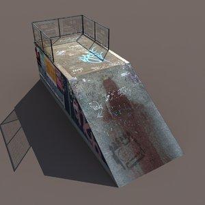 3d model skate pipe modelled