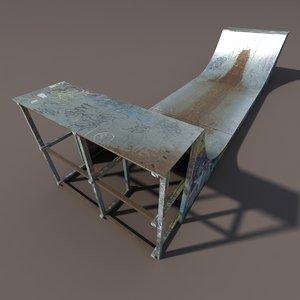 skate pipe modelled 3ds