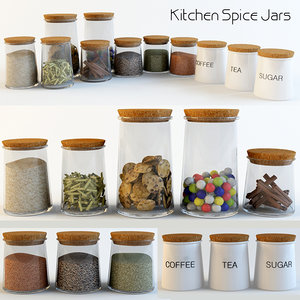 3d model kitchen spice jars