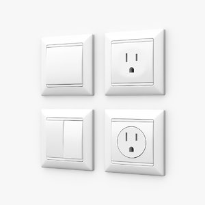 3d wall switches sockets model