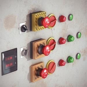 control buttons pack 3d obj