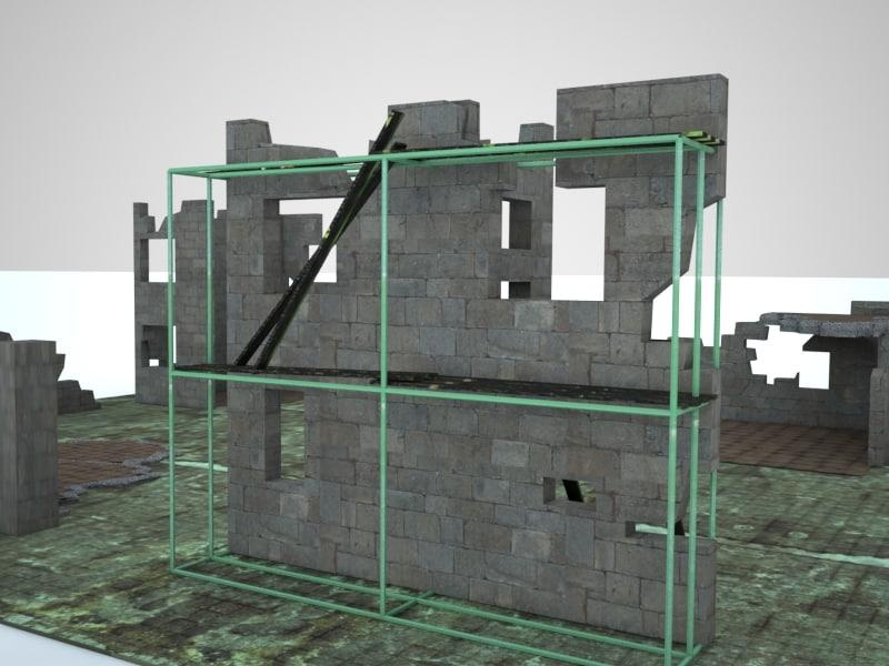 3d model ruin walls