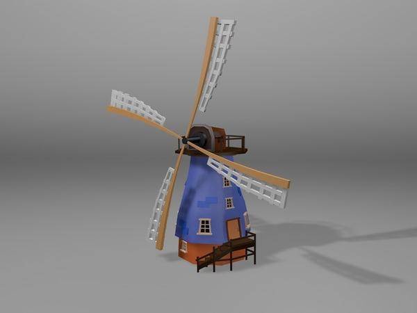 3d cartoonish windmill