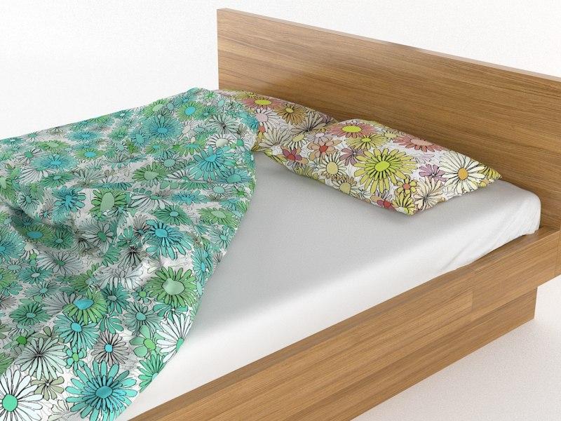 3ds max bed flower duvet