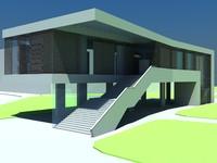 3d model modern art gallery museum