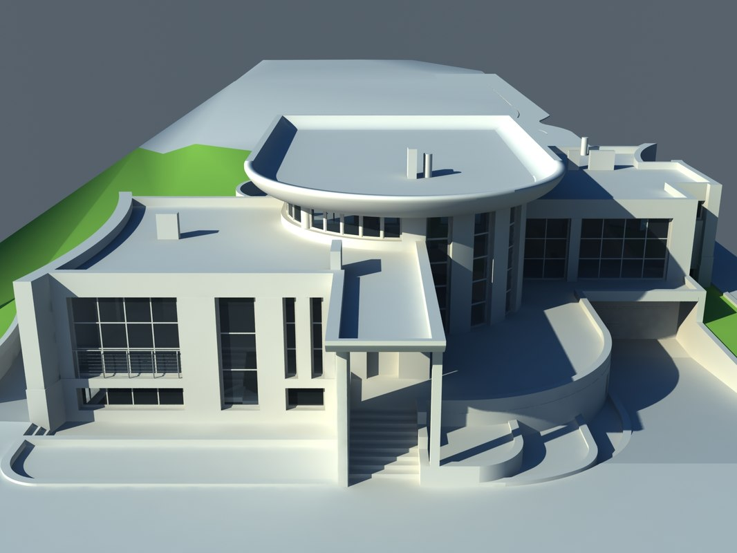3d one-story house model