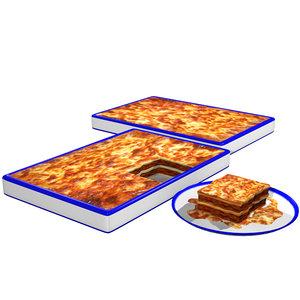 lasagna italian cooked 3d model