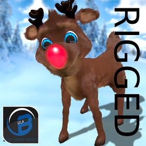 3d fbx rudolph red nosed reindeer