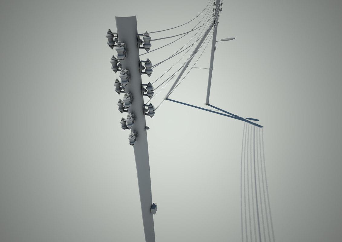 3d telegraph pole model