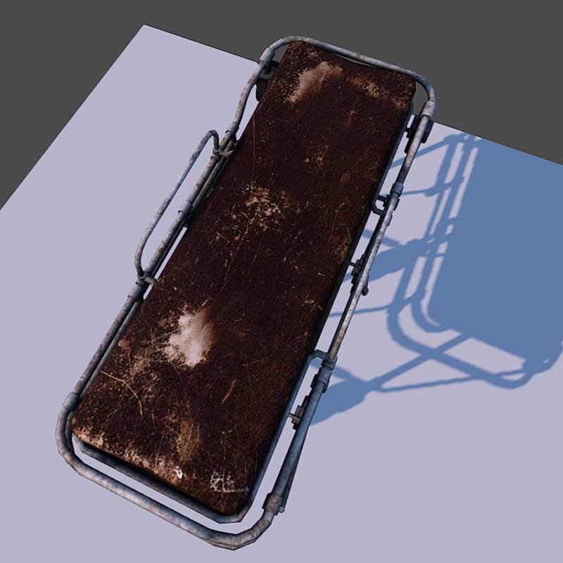 free hospital trolley gurney 3d model