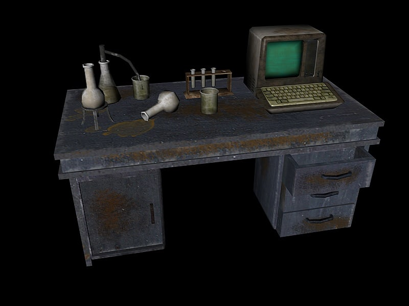 old lab equipment computer table 3d fbx