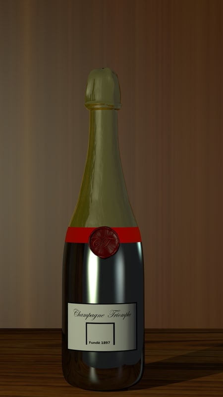 3d model champagne bottle
